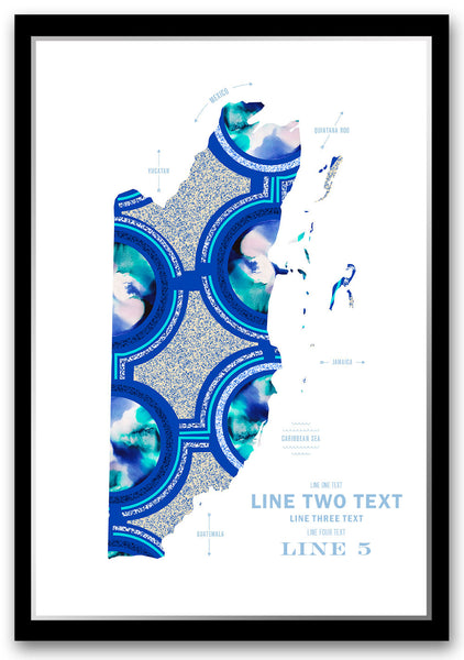 Personalized Belize Map Print Poster