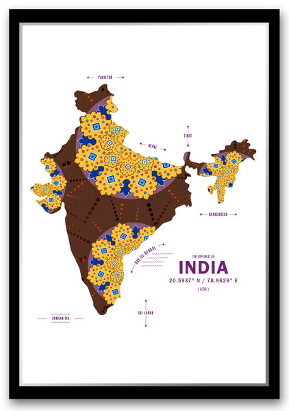 Personalized India Map Print Poster