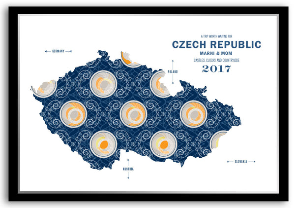 Personalized Czech Republic Map Print Poster