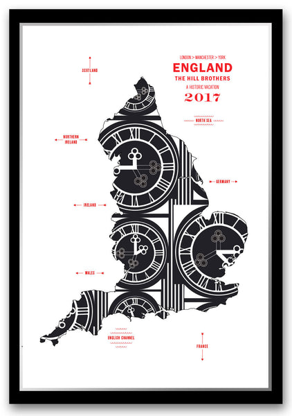 Personalized England Map Print Poster
