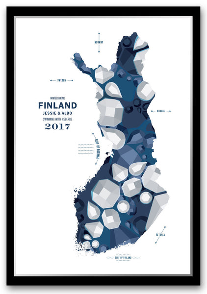 Personalized Finland Map Print Poster