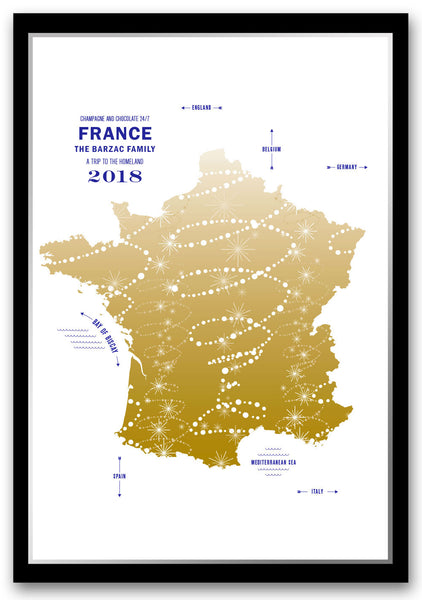 Personalized France Map Print Poster