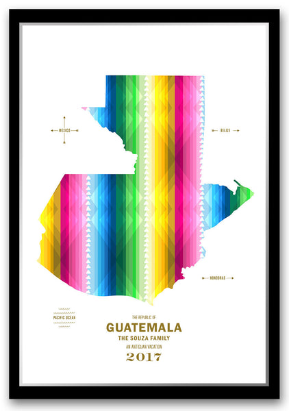 Personalized Guatemala Map Print Poster