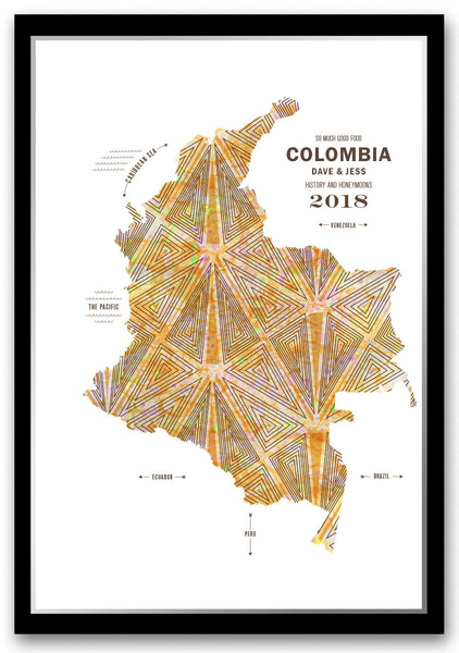 Personalized Colombia Map Print Poster
