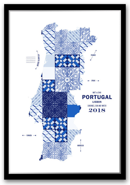 Personalized Portugal Map Print Poster