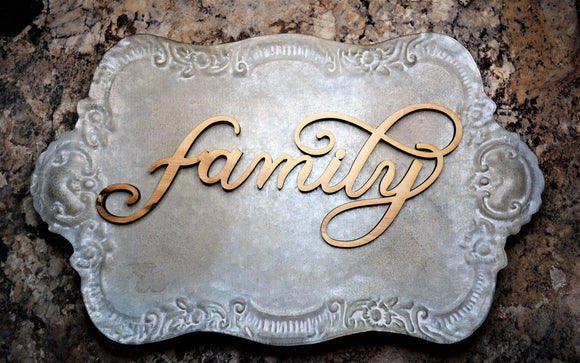 Laser cut family wood sign