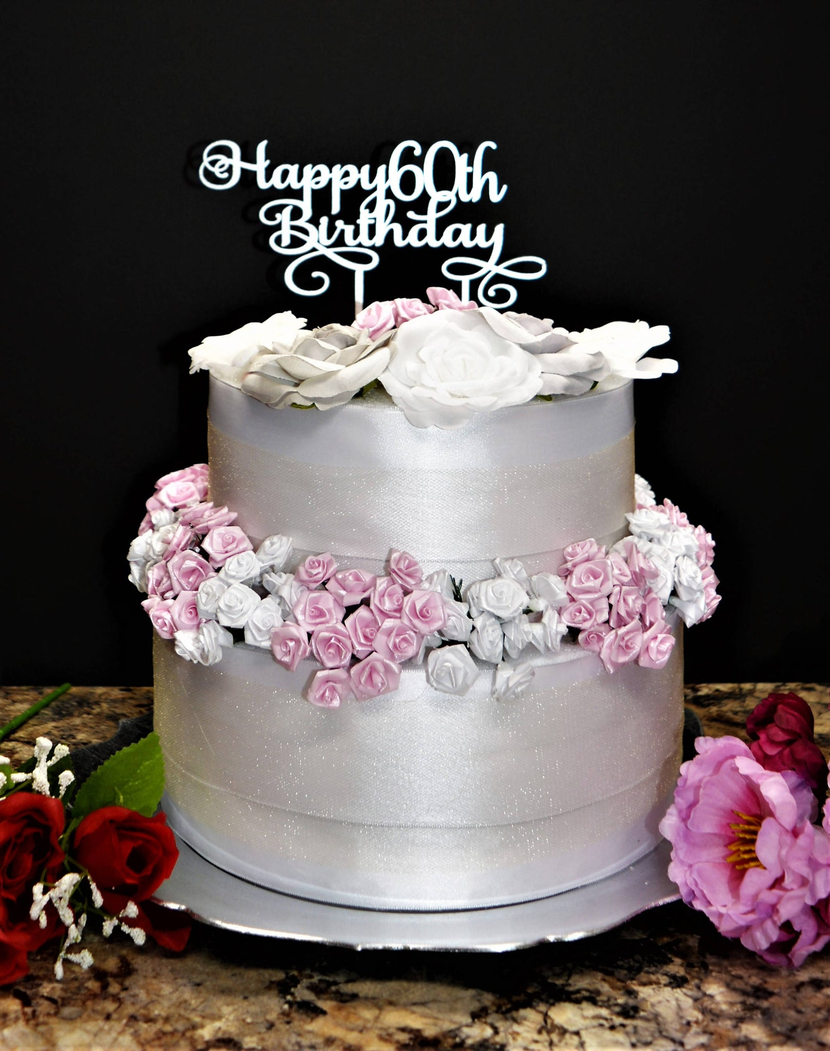Wondrous 60Th Birthday Cake Decoration Pink White Shoe With Crystal Birthday Cards Printable Riciscafe Filternl