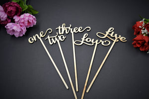 Wedding Table Numbers with Attached Stakes