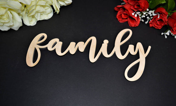 FAMILY wood sign. Calligraphy FAMILY Wall Sign. Laser cut FAMILY wood sign. Rustic Wood Family Sign. Wood Family Word Sign. Wood Family Sign