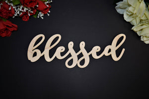 BLESSED wood sign Laser cut