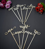 Gold Glitter Wedding Table Numbers with attached stakes