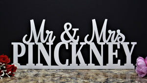 Mr and Mrs sign - Custom mr and mrs wedding name sign -wood last name sign