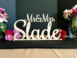 Mr & Mrs Sign - Custom Wedding Name sign - Script Mr and Mrs Surname - Personalized Last Name Sign - Sweetheart table Sign 18x8-10 in