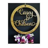 Circle Name Sign, Last Name Sign, Wedding Sign, Custom Name sign, Wood Circle Sign, Circle cutout Name sign, Wedding Decor, Newly Wed Gift