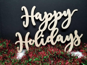 Happy Holidays Sign - Christmas Wood Sign - Laser Cut Happy Holidays Wood cut out sign - Happy Holidays Wood Sign - Christmas wall word sign