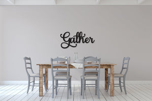 Gather sign, Gather Wood Sign, Gather Wall Decor, Thanksgiving Decor, Gather Word Sign, Wood Cut Out Gather Sign, Family & Dining room decor