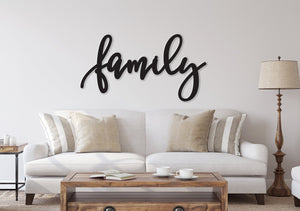Family sign, Family Wood Sign, Family Wall Decor, Thanksgiving Decor, Family Word Sign, Wood Cut Out Family Sign, Family & Dining room decor