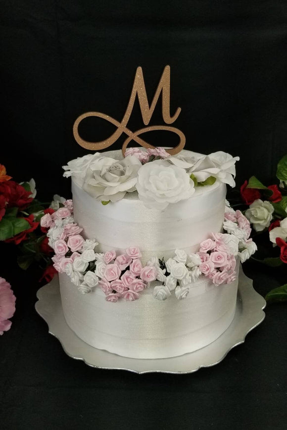 Custom Wedding Cake Topper with Letter initial