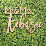 Mr & Mrs Sign - Custom Wedding Name sign - Script Mr and Mrs Surname - Personalized Last Name Sign - Wedding Backdrop sign with last name