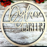 Custom Name Sign, First & Middle Name. Personalized Circle Name Sign, Handwritten Font Personalized Name Sign. Kids Round Name sign, Gift