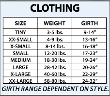 polar fleece pet hoodie size chart