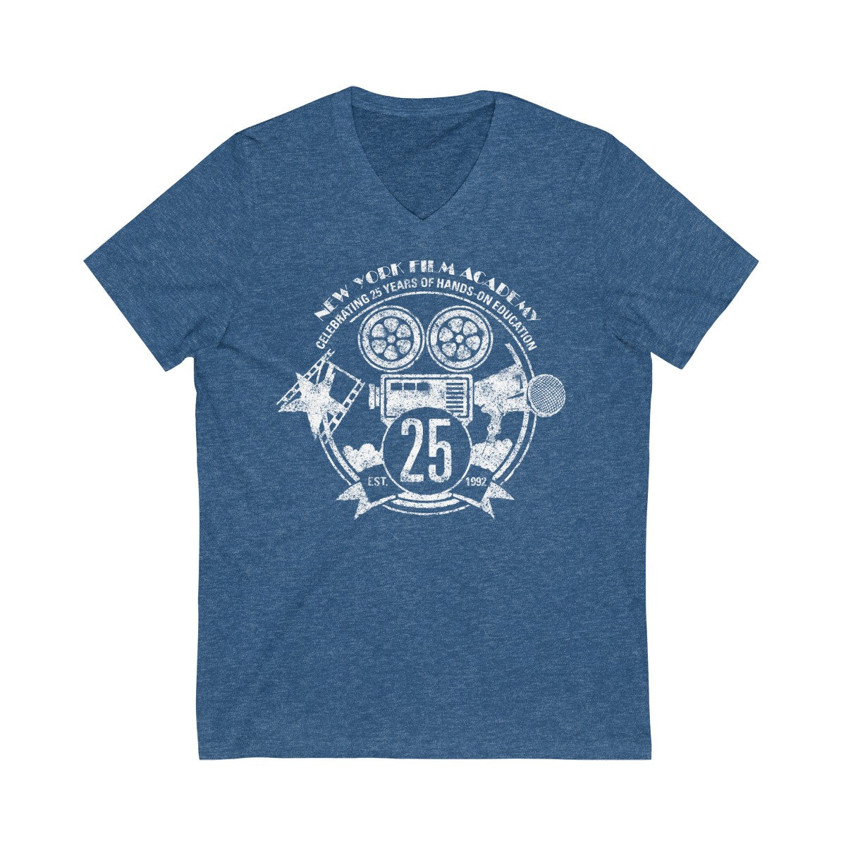 Limited Edition 25th Year NYFA V-Neck T-Shirt - Vintage Heather Blue & Distressed White Logo