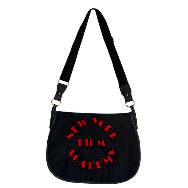 NYFA Canvas Messenger Bag - Black & Red