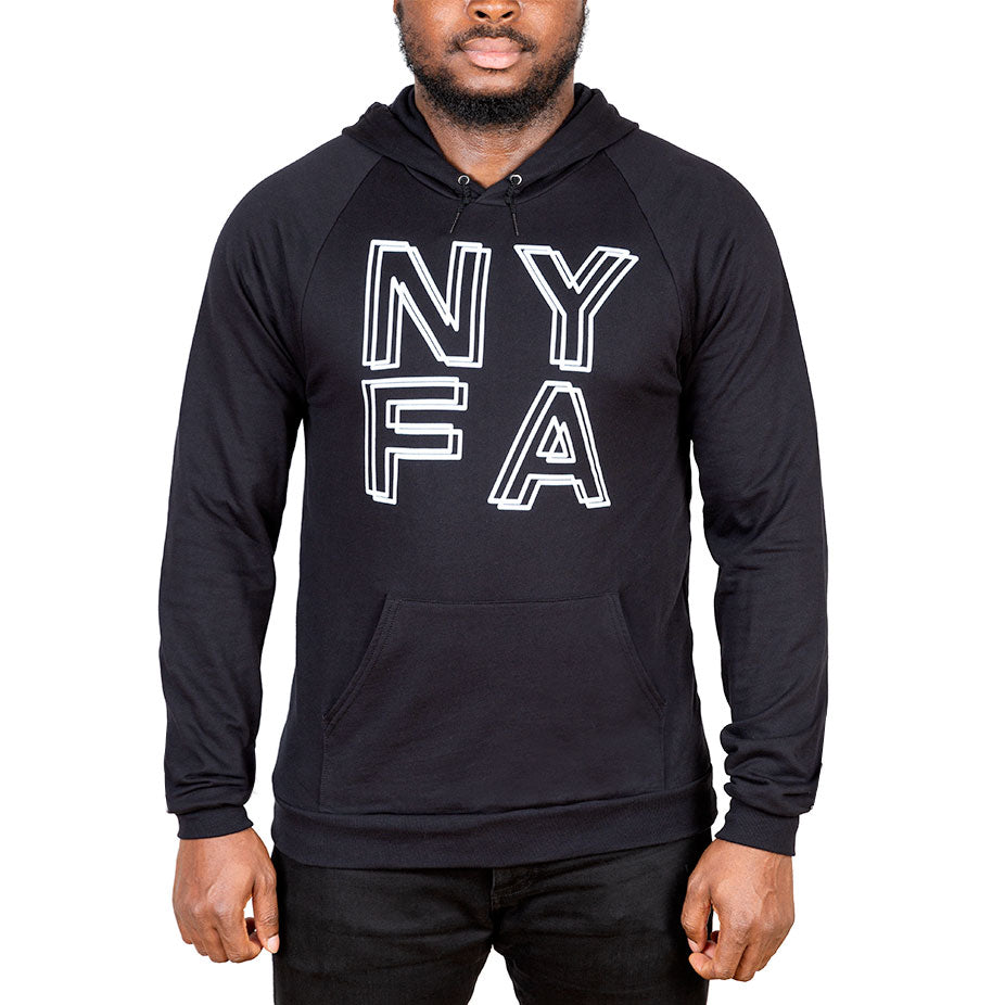Double NYFA Pullover Fleece Hoodie - Black
