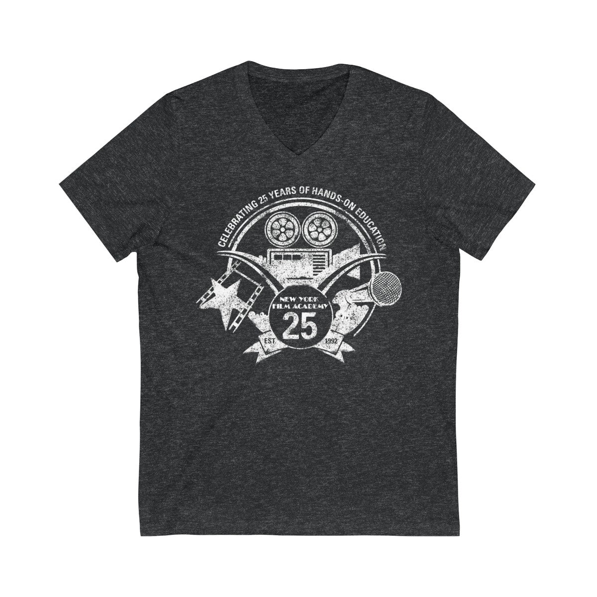 Limited Edition 25th Year NYFA V-Neck T-Shirt - Vintage Heather Charcoal & Distressed White Logo