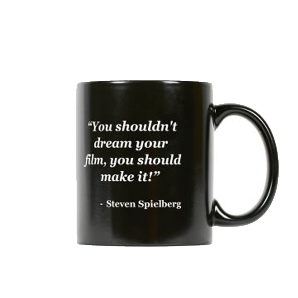 NYFA Mug with Steven Spielberg Quote - Black