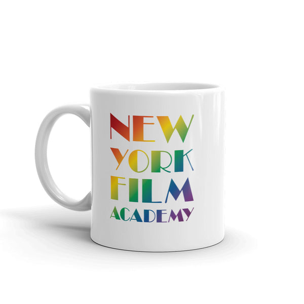 NYFA Pride Month Mug - White with Rainbow Logo