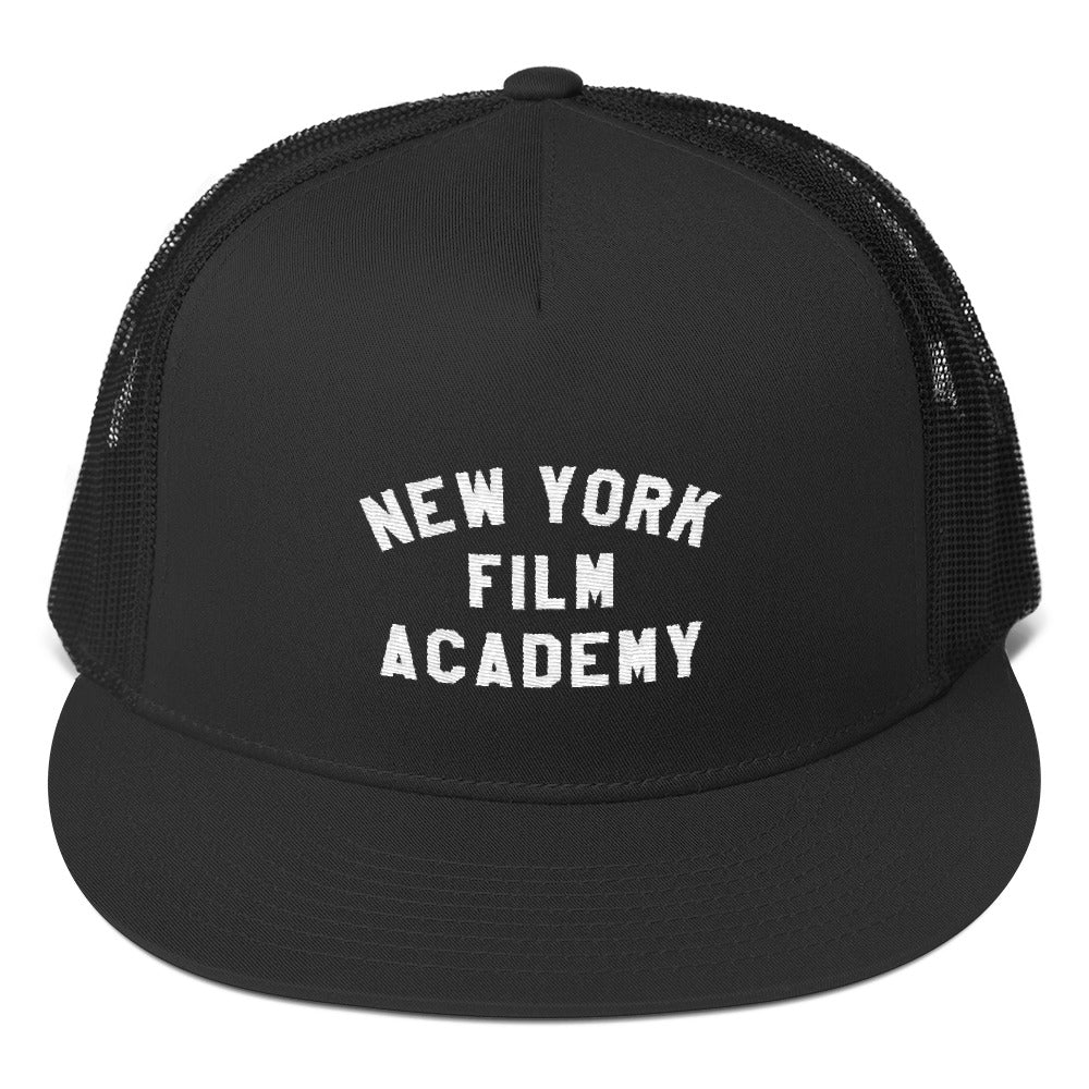 NYFA Flat Brim Trucker Cap - Black With Retro Logo