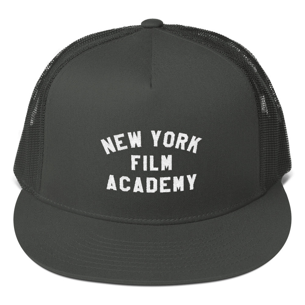NYFA Flat Brim Trucker Cap - Charcoal With Retro Logo