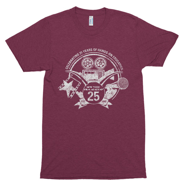 Limited Edition 25th Year NYFA T-Shirt - Vintage Heather Cranberry & Distressed White Logo