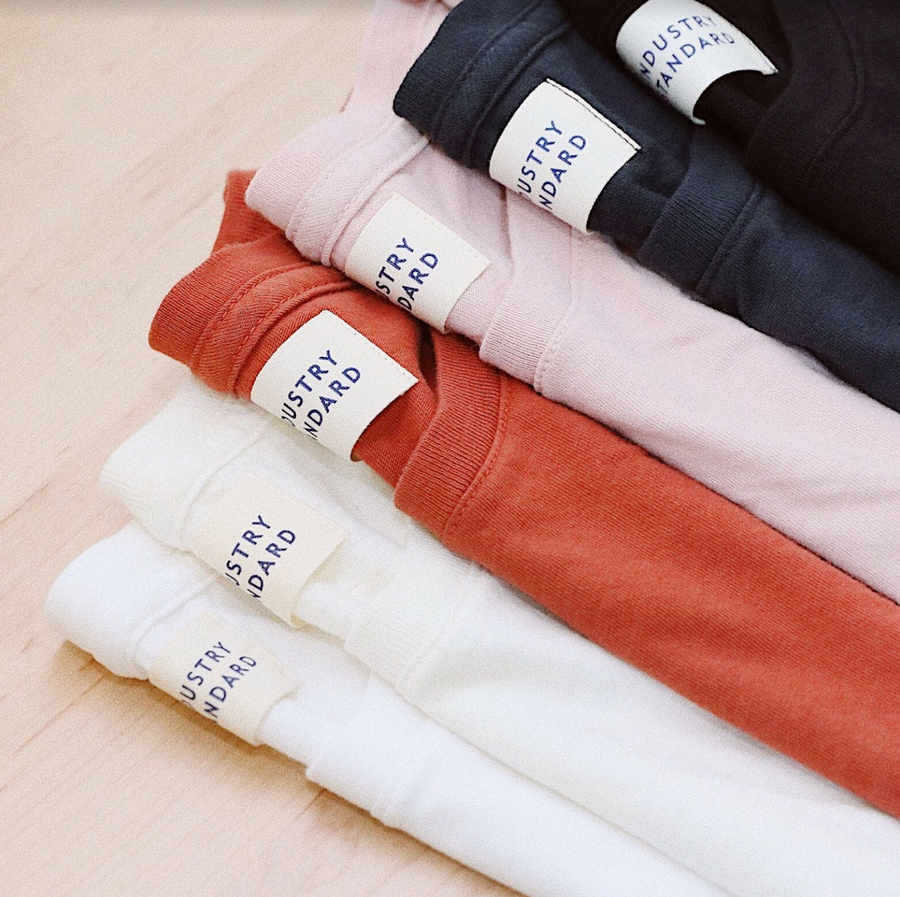 Organic cotton tees in two styles and a range of colors