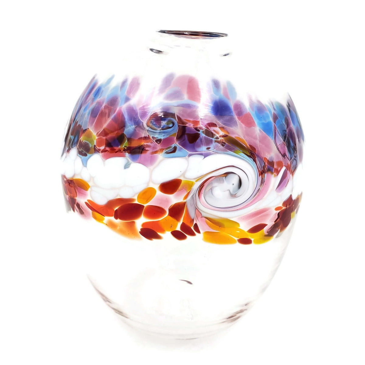 Hand-blown, clear glass oval shaped vase  with  wave-like white swirl and accent colors of  purple, pink, yellow, red, and blue.