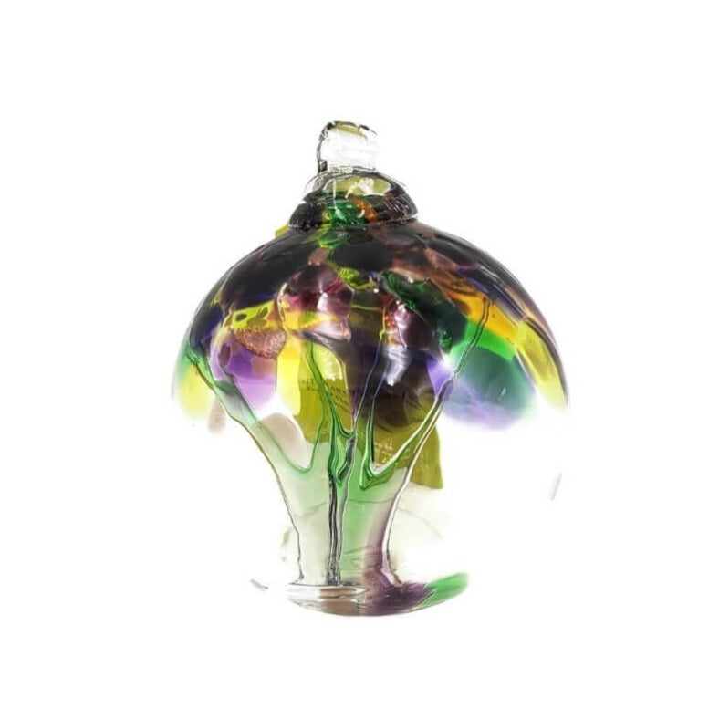 Hand-blown clear glass hanging ball ornament with  accent colors of  purple, yellow and green.
