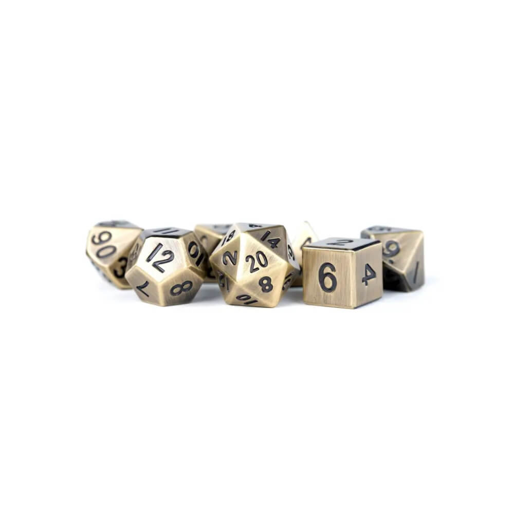 16mm Polyhedral Metal Dice Set in Antique Gold with black numbers