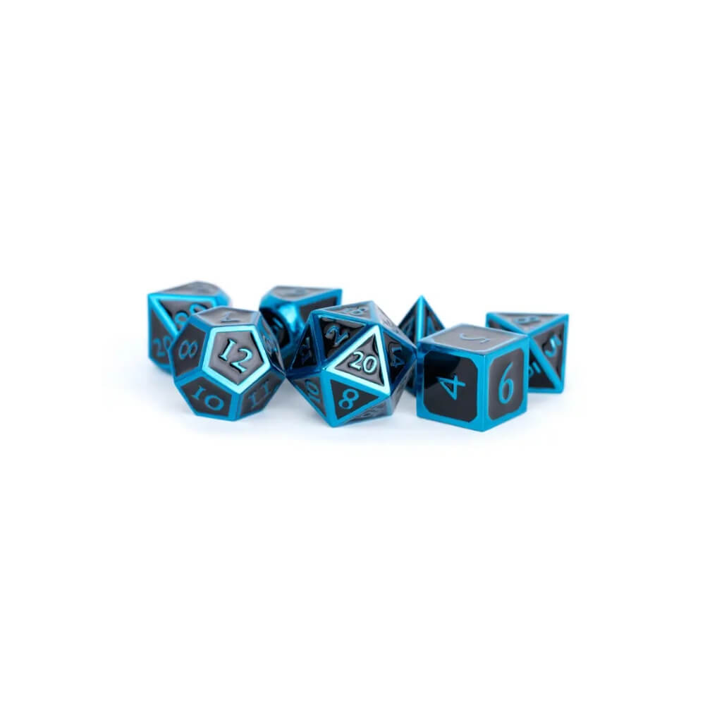 16mm Polyhedral Metal Dice Set with black enamel faces and teal enamel edges.