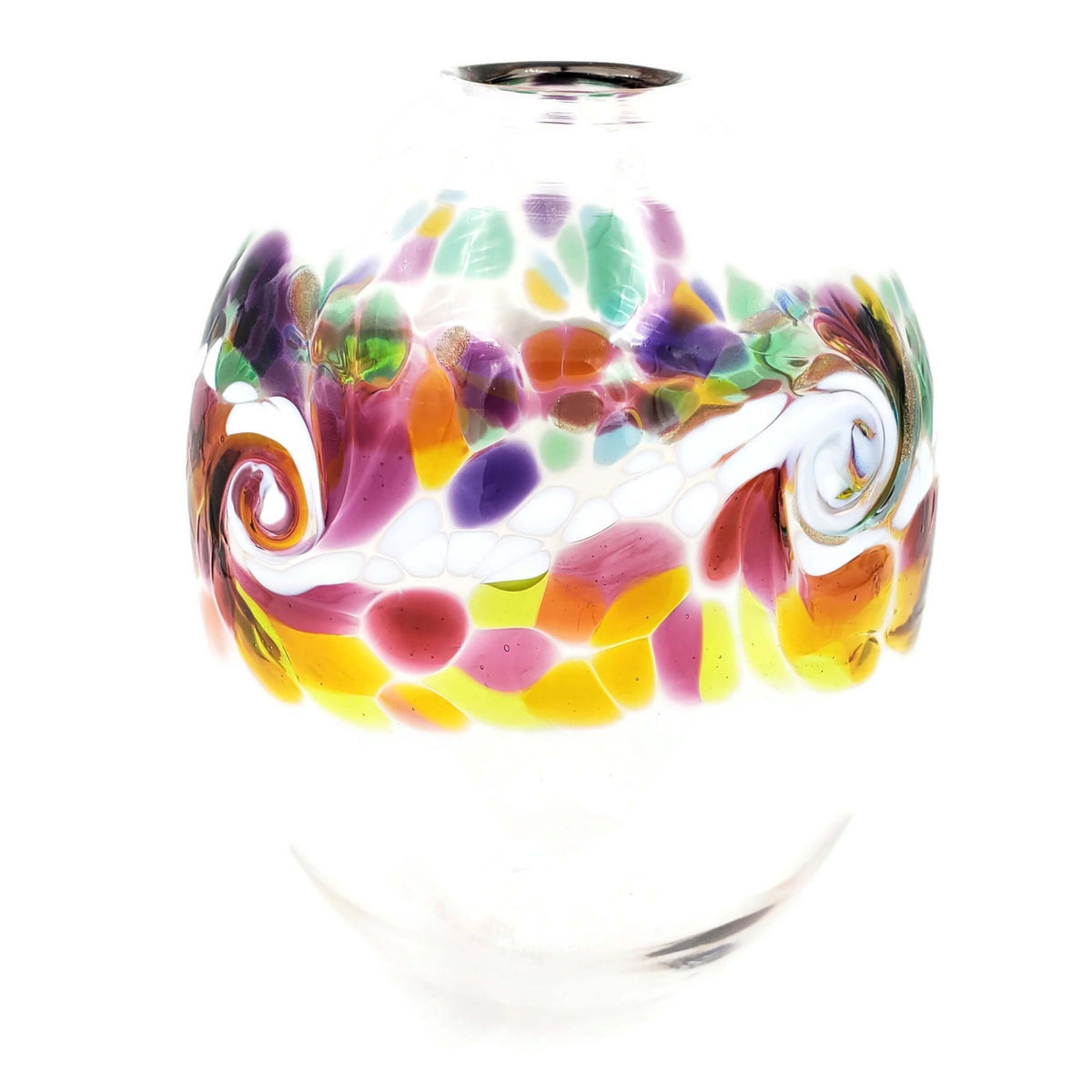 Hand-blown, clear glass oval shaped vase  with  wave-like white swirl and accent colors of  purple, pink, yellow, green, and blue..