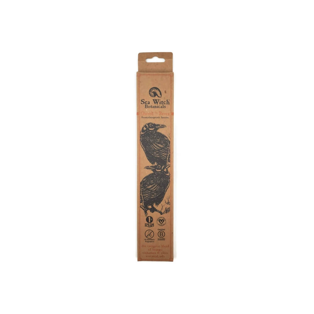 Rectangular cardboard packaging with image of  two ravens and product name Quoth the Raven Incense.