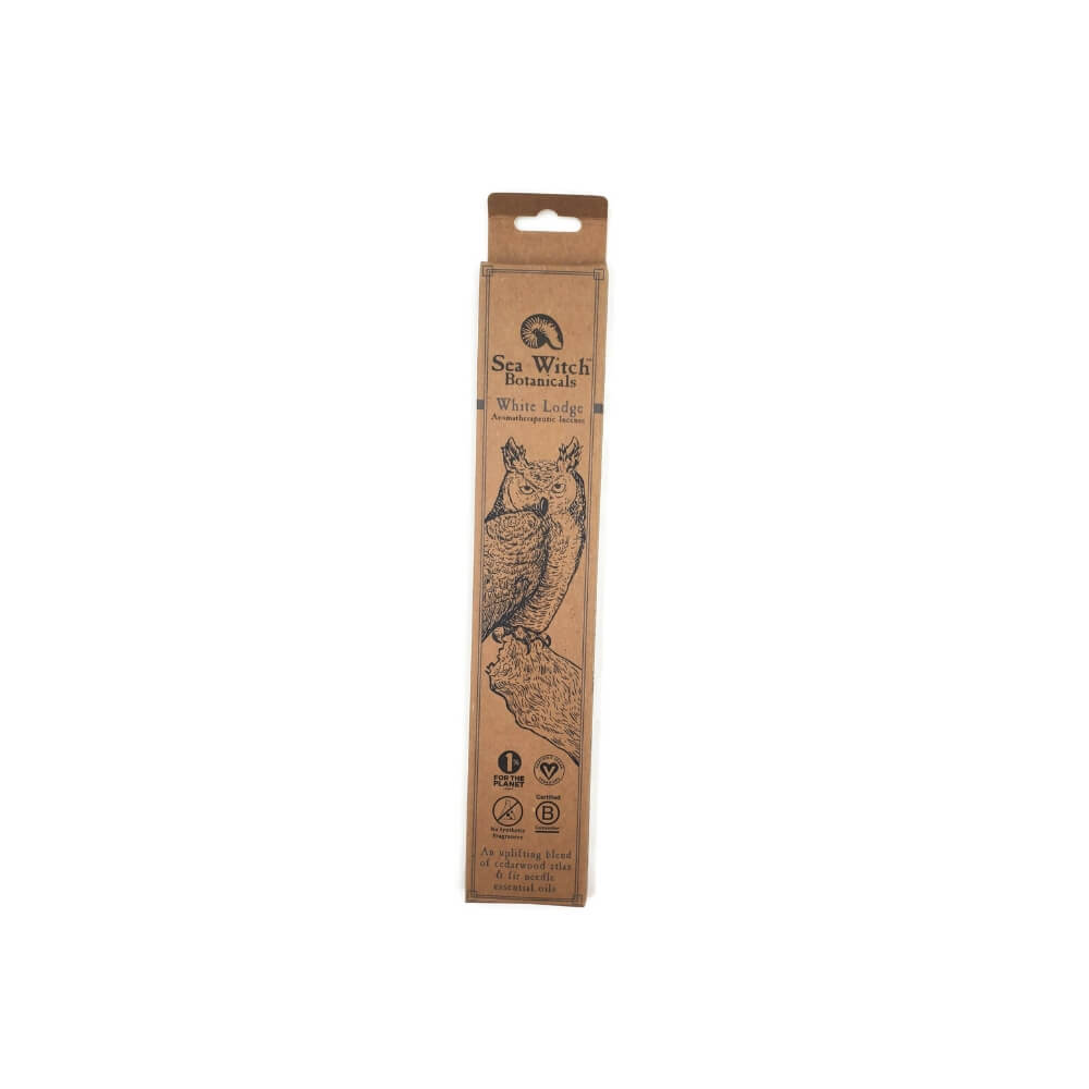 Rectangular cardboard packaging with image of an owl and product name White Lodge Incense.