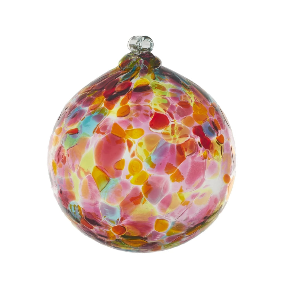 Blown Glass globe with variegated splotches of transparent pink, yellow, and orange and light green