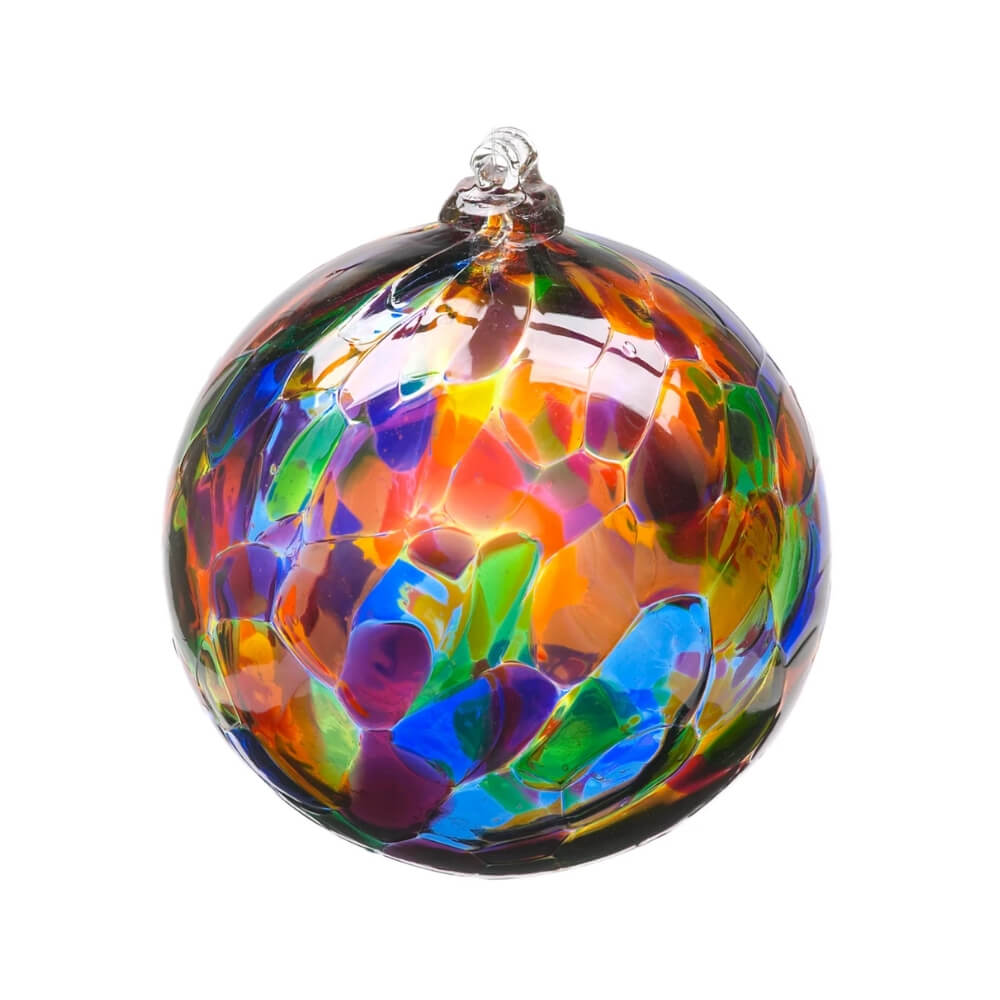 Blown Glass globe with variegated splotches of transparent blue, purple, green, yellow, and orange.