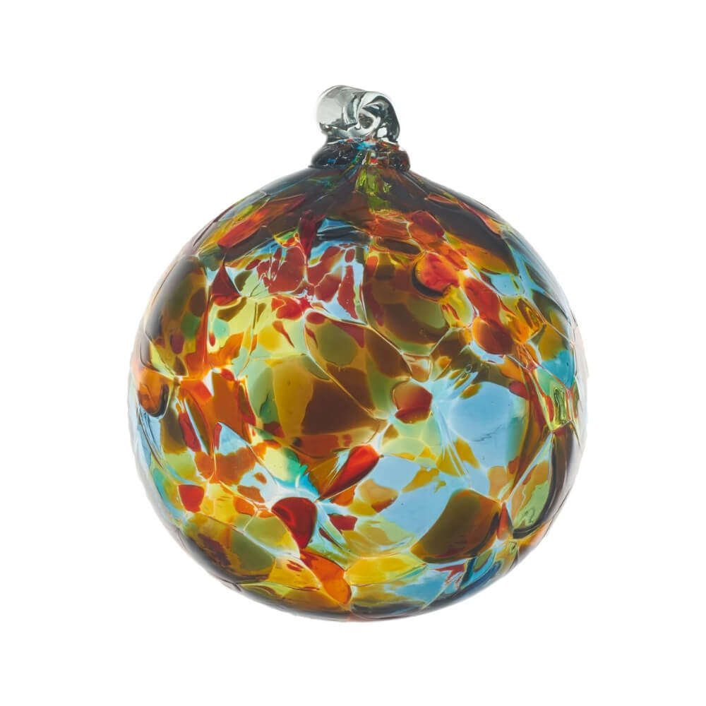 Blown Glass globe with variegated splotches of transparent yellow,orange, brown, green and light blue..