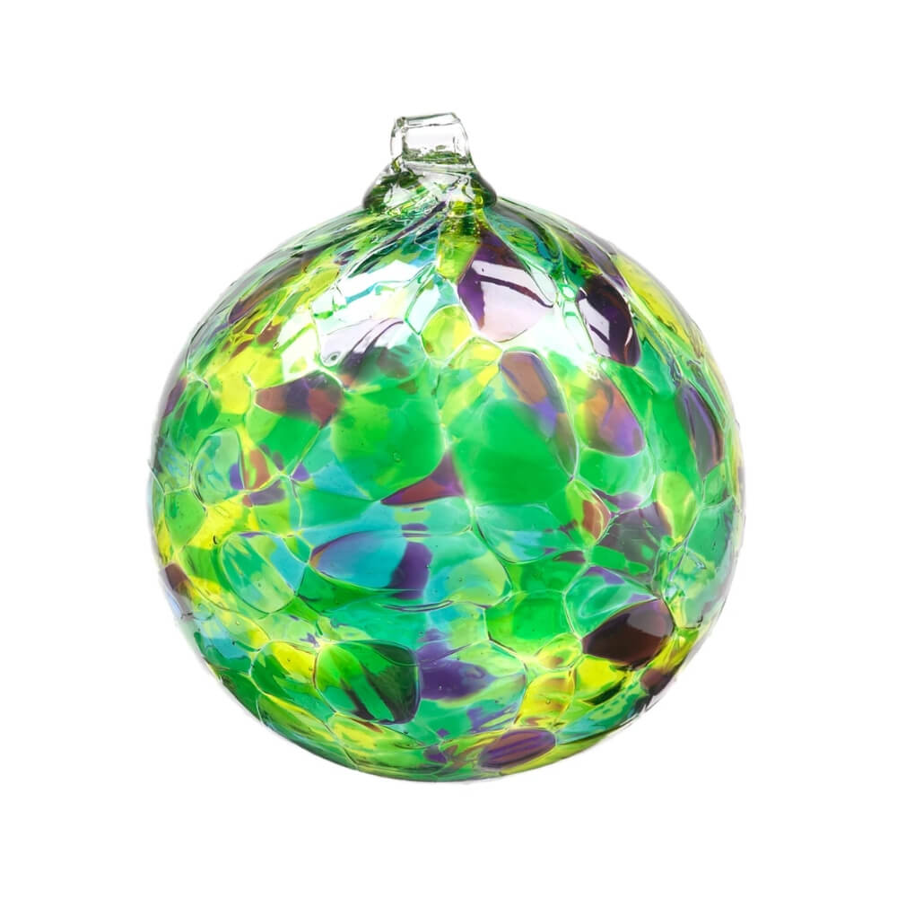 Blown Glass globe with variegated splotches of transparent green, yellow, purple and blue.