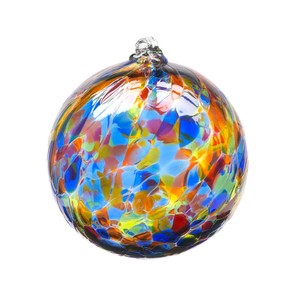 Blown Glass globe with variegated splotches of transparent dark blue, light blue, green, yellow, orange, and red.