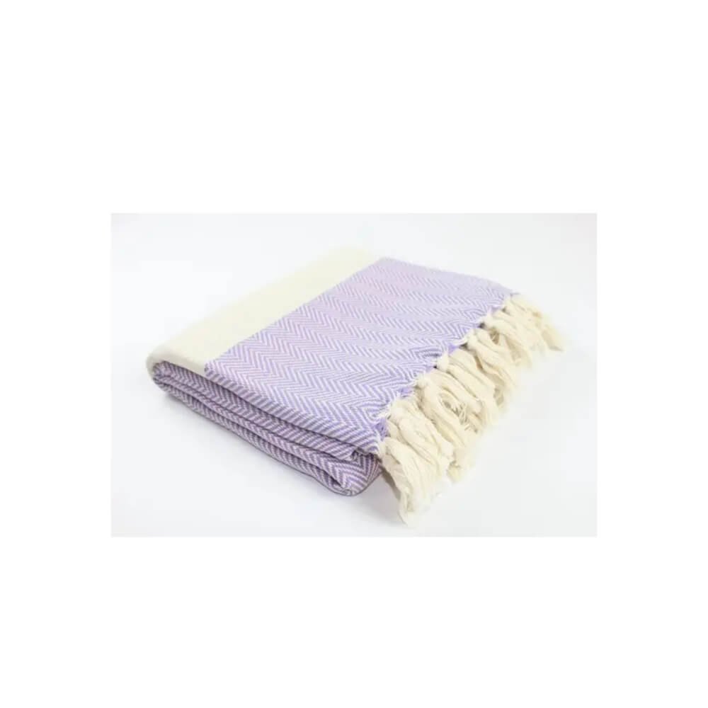Lilac and beige herringbone woven towel with beige stripe and hand-tied beige fringe