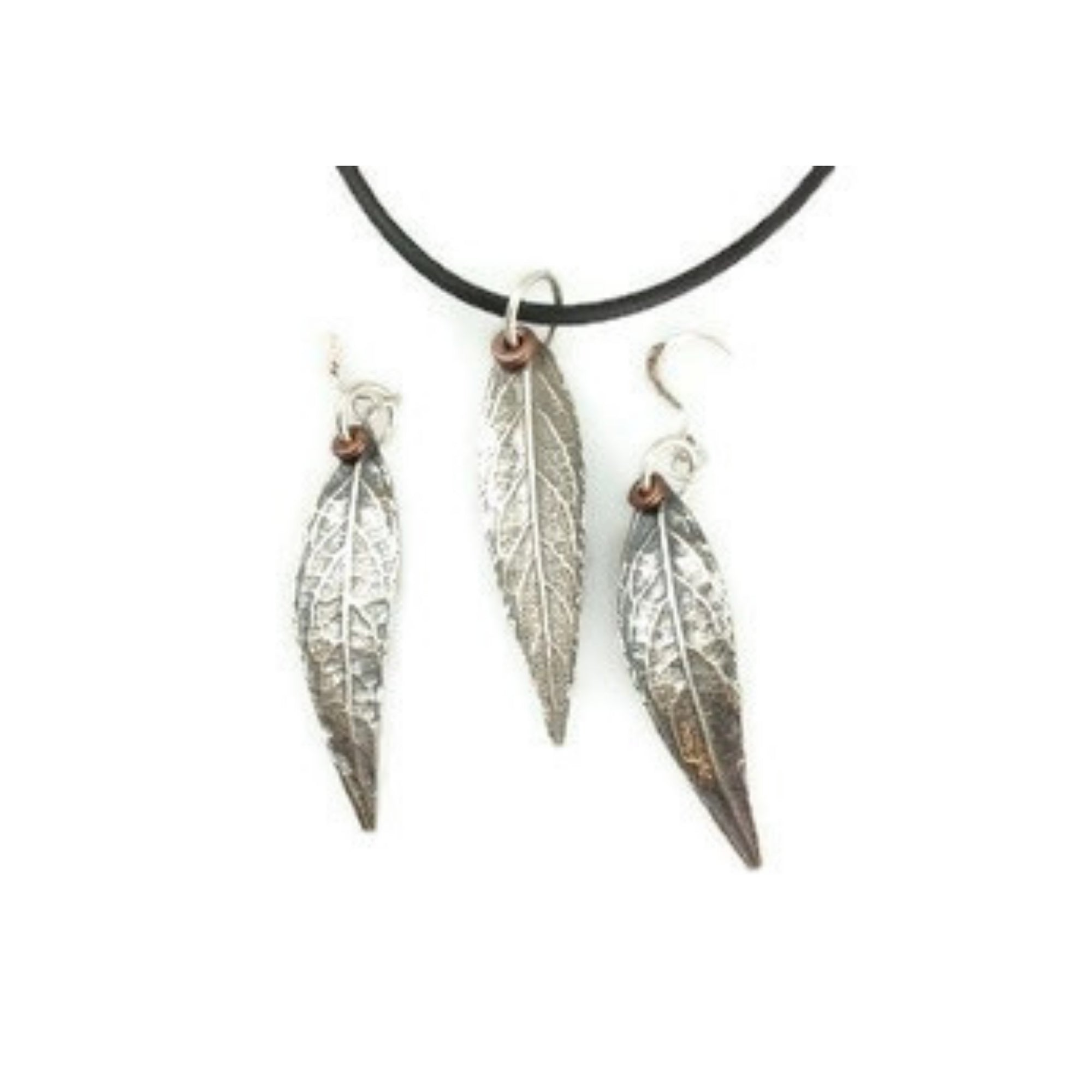 Fine silver pendant and earrings made of ArtClay Silver metal clay from a  butterfly bush leaf mold. Suspended on black cord and accented with copper.