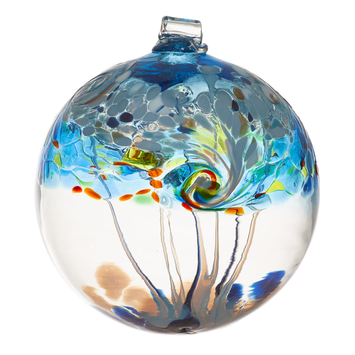 A large clear blown glass ornament whose main color is blue with accents of yellow, green, and orange. White and grey dabs of color come together in a swirl at the midpoint, while webs of glass stretch across the inside of the orb.